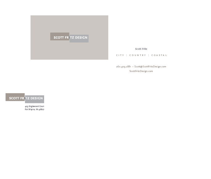 Business Card design for Logo for Scott Fritz Interior Design