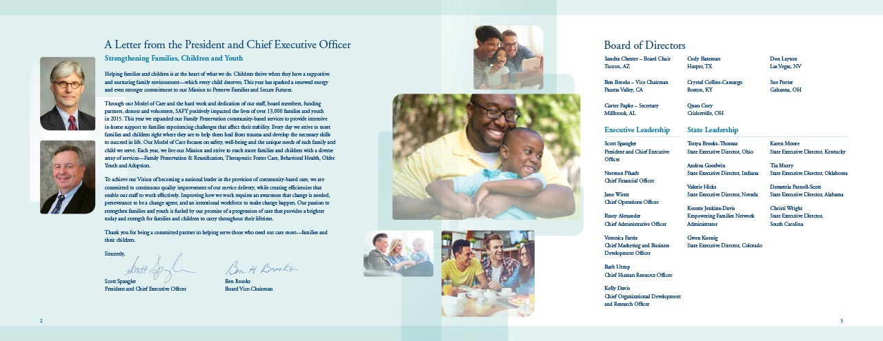 SAFY – Specialized Alternatives for Family and Youth of America 2015 Annual Report Interior