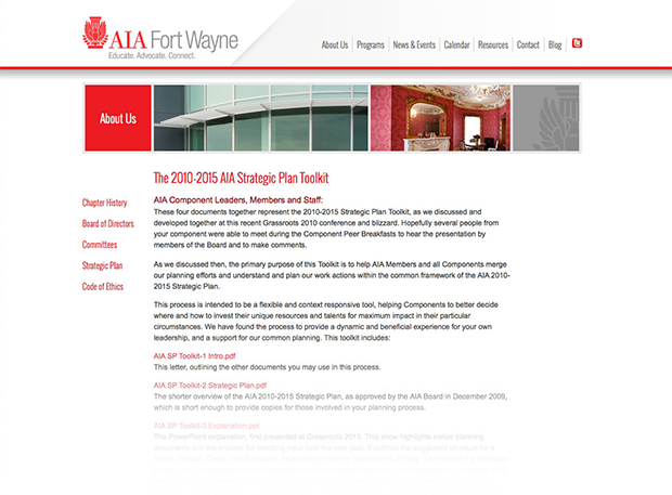 AIA Fort Wayne Website Interior Page