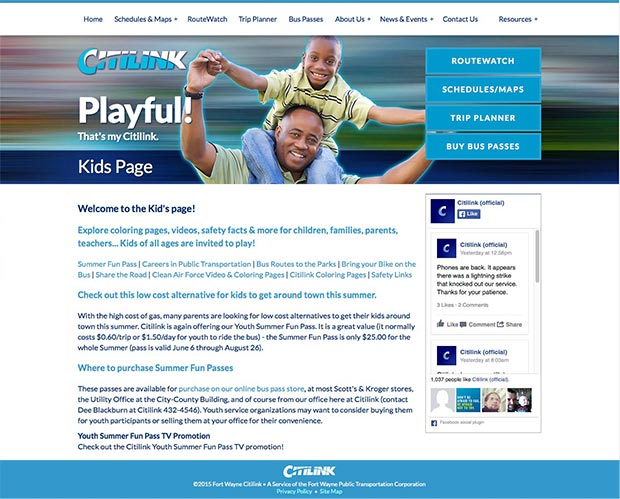Fort Wayne Citilink Website Interior Page