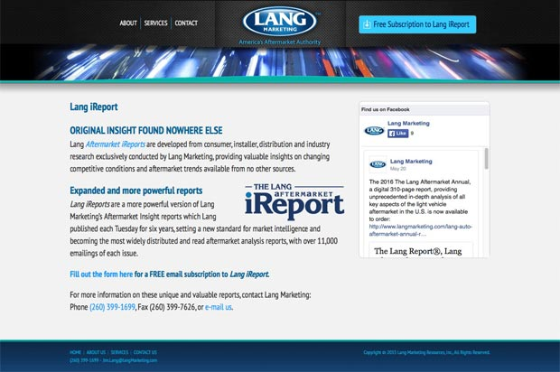 Lang Marketing Website Interior Page
