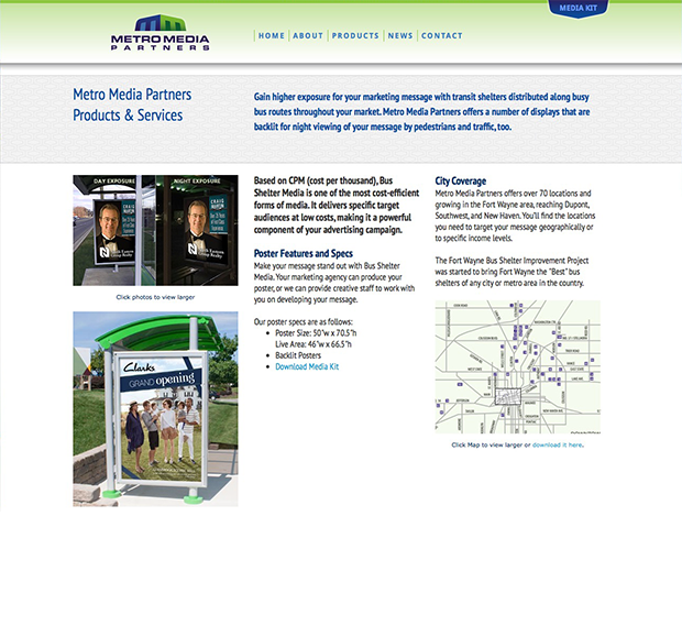 Metro Media Partners Website Interior Pages