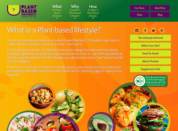Plant-Based University Website Interior Page