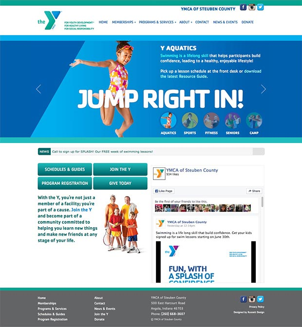 Steuben County YMCA Website Homepage
