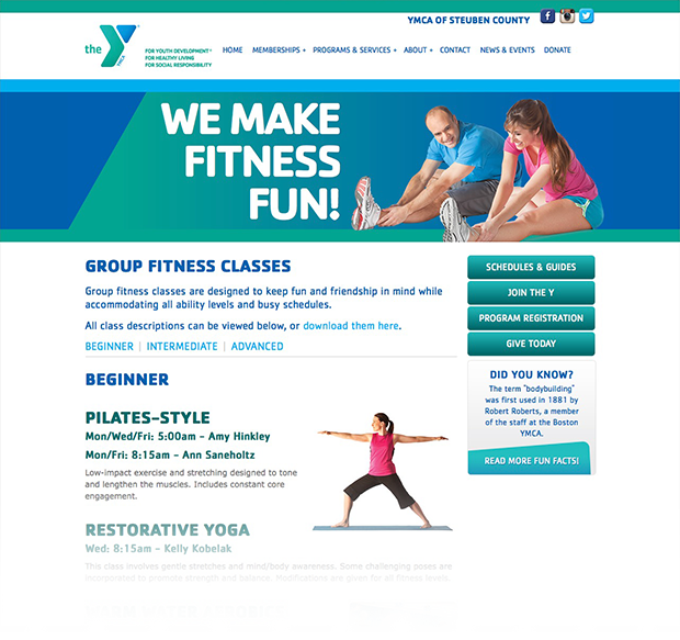 Steuben County YMCA Website Interior Pages