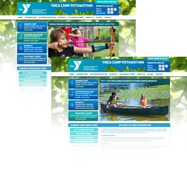 YMCA of Greater Fort Wayne Camp Website Interior Page
